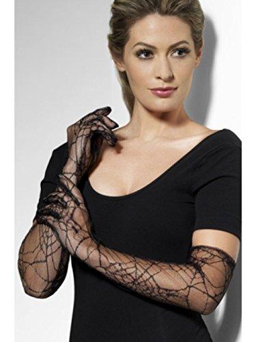 HAAC Spitzenhandschuhe Handschuhe 50 cm lang Farbe schwarz mit Spinne Muster für Halloween Fasching Karneval (Spinne Kostüm Halloween Muster)