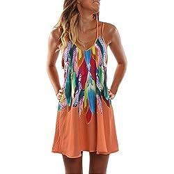 MOMOXI Vestidos para mujer Mini vestido corto con estampado de playa sin mangas de verano Boho para mujer Vestidos Mujer Elegante Media Manga Cuello Redondo Slim Fit Vestido Moda Lunares Encima