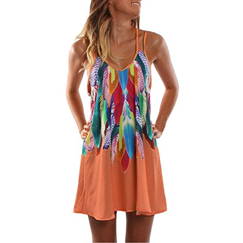 BHYDRY Summer Boho Casual Imprimé Maxi Party Robe de Plage pour Femme Robe d'été(Small,Orange)