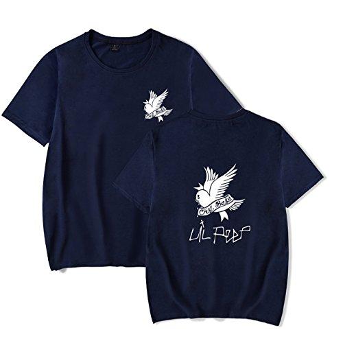 SERAPHY Unisex T-Shirt R.I.P Lil Peep Cry Baby Rapper Hip Hop Frühling Herren T-Shirt Harajuku Casual T-Shirt Damen/Herren Print Kleidung Königlich-XL - Hip Hop Damen