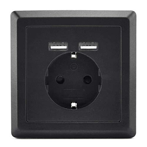 Schuko Enchufe con 2x USB Puerto de carga (Max. 2.4A) Negro