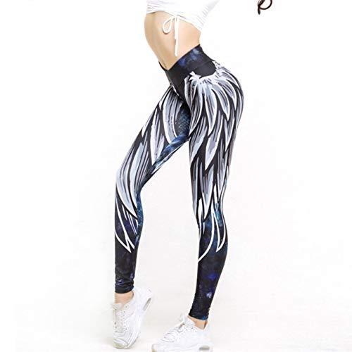 Elviray Wing Print Hip-Lifting Leggings Moda Correr Pantalones de Yoga Pantalones Largos Lápiz Entrenamiento Delgado Legging Gimnasio Pantalones
