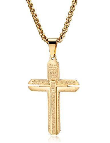 Herren Halskette mit Kreuz Anhänger aus Edelstahl