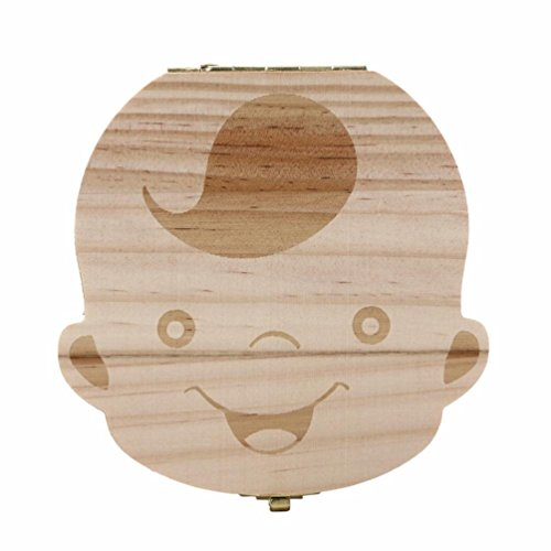 Tefamore Boîte à dents pour bébé Dent de lait Sauver Boîte de rangement en bois pour enfants Boy & Girl