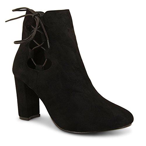 Neue Damen Hohe Blockabsatz Spitze bis Winter Chelsea Knöchel Boots Schuhe Größe schwarze Velourslederoptik