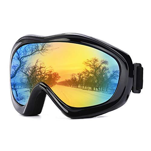 JTENG Skibrille, Ski Snowboard Brille UV-Schutz Skibrille Brillenträger Schneebrille Snowboardbrille Verspiegelt Motorradbrillen Für Damen Herren Mädchen Jungen (schwarz)