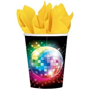 Falksson Disco Party - Lote de vasos para fiesta temática (8 unidades, cartón)
