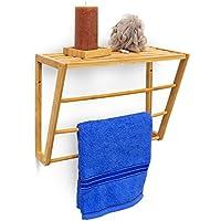 Relaxdays en la pared de mano con soporte de bambú con soporte HBT 30 x 42 x 20 cm toallero doble para montaje en la pared con 3 barras de pequeña estantería de madera de bambú de estante con toallero de barra, colour beige