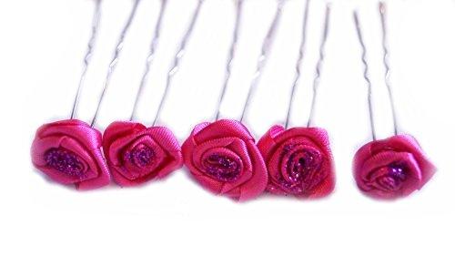 familientrends Rosen Haarnadel Braut Hochzeitsschmuck Kopfschmuck Brautschmuck Kommunionschmuck, Farbe:Pink