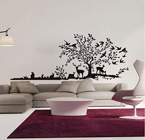 Knncch Hand Kalligraphische Wandtattoo Aufkleber Landschaft Der Baum Vögel Auf Den Baum Hase Hirsche Spielen Unter Baum Wand Kunst Wandbild (Hände Auf Halloween-spiele)