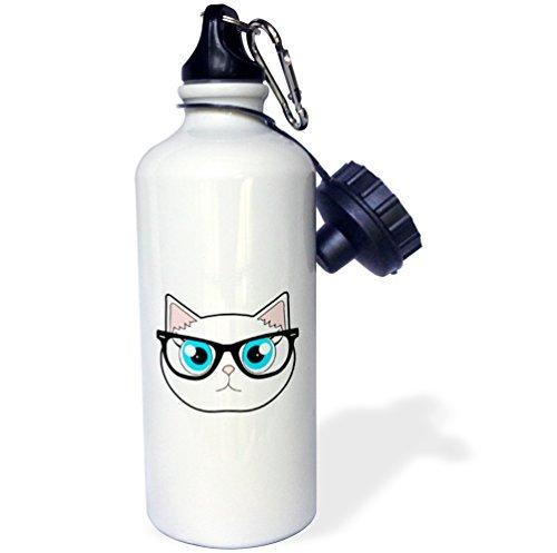 wenyige8216Cute Hipster Cat mit Brille Sport Wasser Flasche, Klauenhammer/Latthammer, weiß