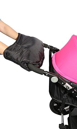IntiPal Kinderwagen Handwärmer Handschuhe Fleece Handmuff für Kinderwagen Kinderwagenmuff (Still B Schwarz)