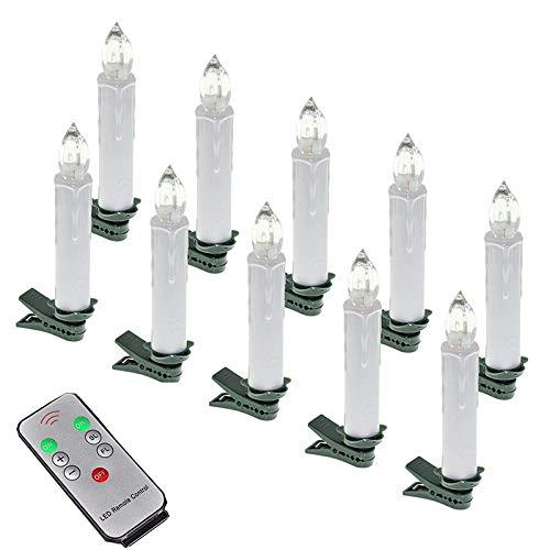 SAILUN® Blanc chau Bougies LED sans Flamme avec Télécommande Photophores Dimmable LED Bougies de Flamme Scintillante pour Décoration de Noël, Mariage, Anniversaire, Fête (40 pièces)