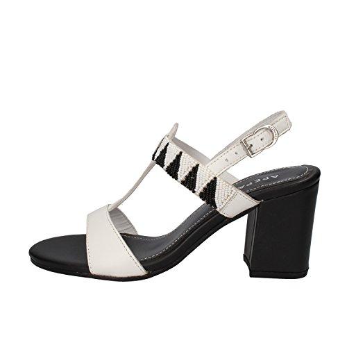 scarpe donna APEPAZZA sandali bianco nero pelle AK623 (35 EU)