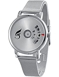 Madhav Fashion Attractive Silver Dial Silver Strap Stylist Creative Analog Watch For Men-58969-SILVERDIAL-SILVER-STRAP