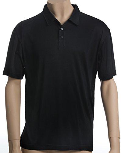 SUPERIOR NATURALS, Poloshirt, Kurzarm, 100% Seide, Interlock, Schwarz Schwarz