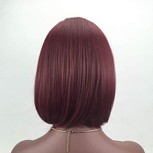 LGJZZ Frauen Kurze Glatte Haare Schwarz Braun Weinrot Perücke Schräge Pony Hochtemperatur Seide Welle Kopf Rose Haarnetz Einstellbare Mode Realistische Sexy Wunderschöne Haarlänge 40 cm B