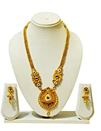 KailasMegha Gold Plated Long Traditional Necklace Set For Women