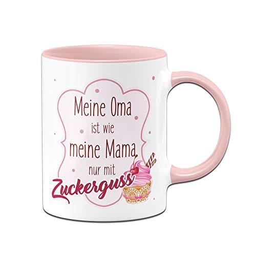 Tasse mit Spruch Meine Oma ist wie Meine Mama nur mit Zuckerguss - Kaffeetasse Geschenk für Oma von Enkeln - Geschenke für Großeltern (Rosa)