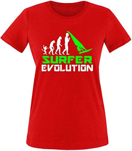 EZYshirt® Surfer Evolution Damen Rundhals T-Shirt Rot/Weiss/Neongr