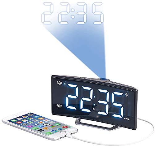 Auvisio–Despertador con Alarma Dual: 51425–Radio Despertador con Curved de Pantalla, Dual de Alarma & Puerto USB (Despertador con Funciones de repetición)