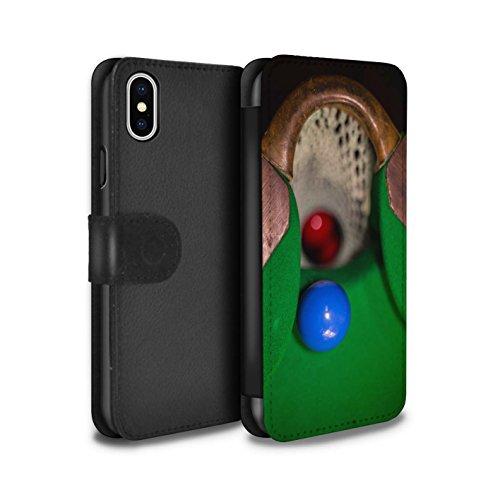 Stuff4 Coque/Etui/Housse Cuir PU Case/Cover pour Apple iPhone X/10 / Boul Rouge/Poche Design / Snooker Collection Boul Bleu/Rack