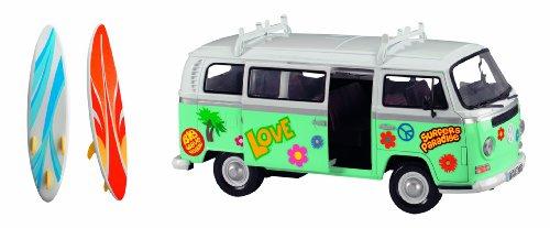 Dickie Toys 203776000 - Surfer Van, VW Bully mit Surfbrett und Stickern, 32 cm