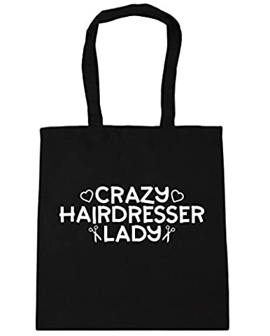 HippoWarehouse Crazy hairdresser lady Tote Shopping Gym Beach Bag 42cm x38cm, 10 litres