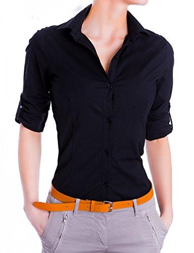 Damen elegante Figurbetonte langarm Bluse Hemd ( 510 ), Farbe:Schwarz, :Small