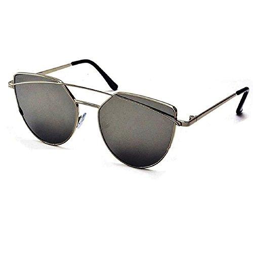 Silver Kartz Clubmaster Unisex Sunglasses (Wy144_65_Black)