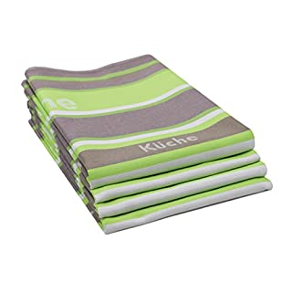 "Zollner set of 4tea towels in apple green, professional quality, ""Sine"" series, 50x 70 cm, 100 % Cotton, 352-apfelgrün, 50/70"