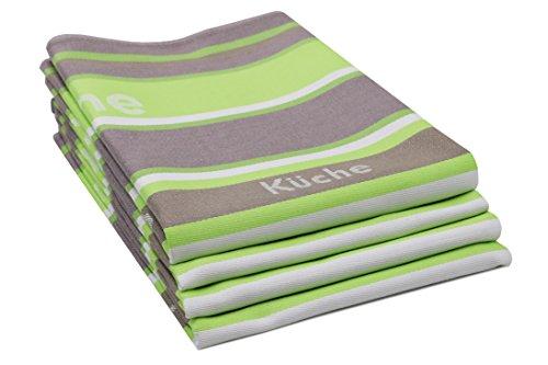 Zollner 4er-Set Geschirrtücher aus Baumwolle, apfelgrün-gestreift, ca. 50x70 cm, Schriftzug Küche