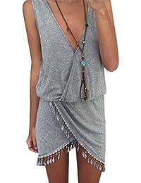 PZJ® Vestido, Casual Vestido de camiseta, Vestido de Playa, V cuello vestido