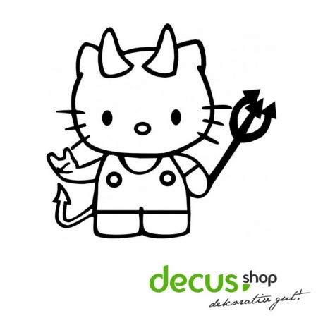 Decus Hello Kitty Teufel L 1934 // Sticker OEM JDM Style Aufkleber (Carbon Silber) (Hello Kitty Auto Aufkleber Zubehör)