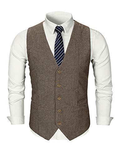 Ghyugr gilet uomo monopetto tweed a spina di pesce senza maniche blazer vintage waistcoats da wedding matrimonio ceremonia,cachi,xl