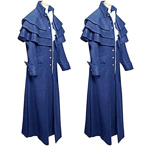 ZHANSANFM Herren Frack Mantel Steampunk Gothic Jacke Vintage Piraten Rüschen Praty Cosplay Kostüm Viktorianischen Elegant Langer Coat festlich Outwear Uniform Mittelalter Kleidung (L, Blau)