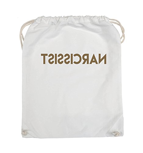 Comedy Bags - NARCISSIST - GESPIEGELT - Turnbeutel - 37x46cm - Farbe: Schwarz / Silber Weiss / Hellbraun