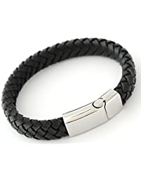MILAN PERSONALISED BLACK LEATHER MENS BRACELET, FREE ENGRAVING - with NAMES, BIRTHDAY etc - GIFT BOXED