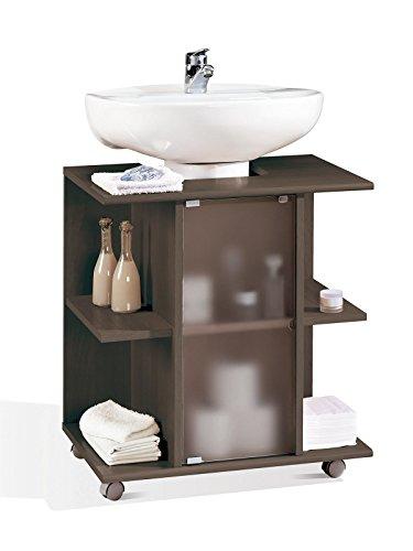 Mueble, modulo bajo para lavabo de baño, varios estantes y puerta de cristal, color wengue