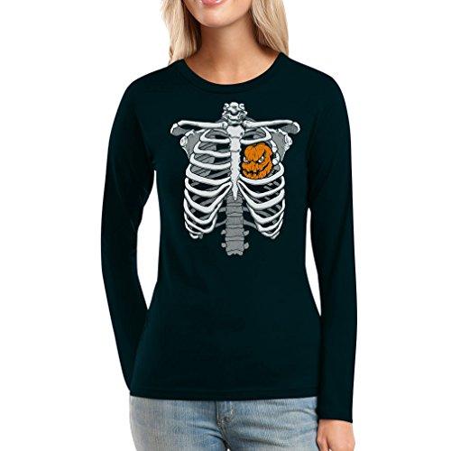 Shirtgeil Halloween Skelett Brustkorb Mit Kürbis Frauen Langarm-T-Shirt XX-Large Schwarz (Jack Of Halloween-kostüm Hearts)