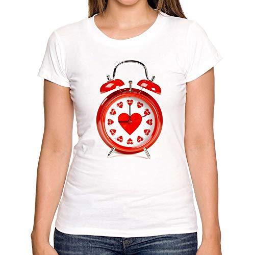 ZCYTIM Hochwertige Sommeroberteile 2019 T-Shirt Frauen Kurzarm-Shirts herzförmige Uhr Druck T-Shirt lustige Damenbekleidung - Herzförmiger Kurzarm-pullover
