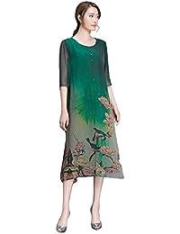 Blansdi Femme Vrac Robe Rétro Tunique en Coton Longue Chemise A-Lin Grande Taille Vintage Robe