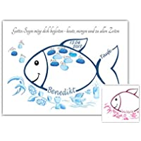 Fingerabdruck Fisch Taufe Geschenk, Tauffisch, Taufe Gästebuch Alternative, Fingerabdruck Baum Taufe 29x42cm Poster, Taufgeschenke für Mädchen und Jungen