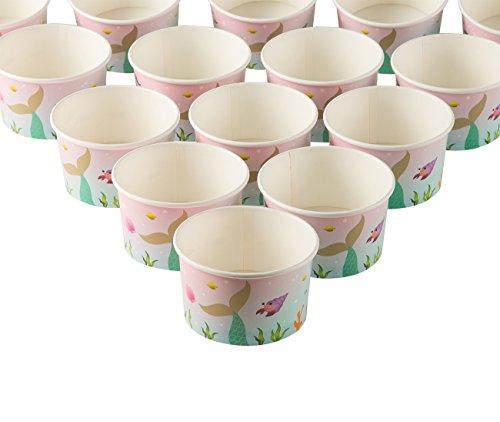 Eisbecher/Eisbecher - 50 Stück Einweg-Papier Dessert Eis Joghurt Schalen Party Supplies Meerjungfrau 227 ml