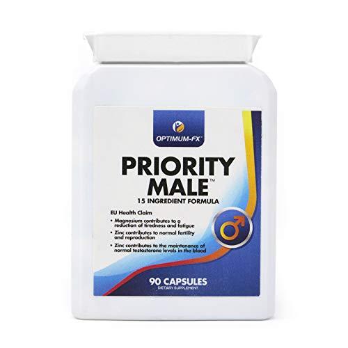 Priority Male Ergänzungsmittel enthält Magnesium, L-Arginin, Bockshornklee, Maca-Extrakt, Zink, Ginkgo, Knoblauch-Extrakt & koreanisches Ginseng - 50% extra KOSTENLOS (90 Kapseln zum Preis von 60) - Geld-zurück-Garantie