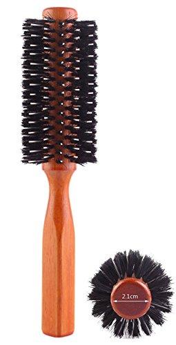 Lot de 2 brosses rondes avec poils de sanglier et en nylon, manches en bois, diamètre de 5,8 cm