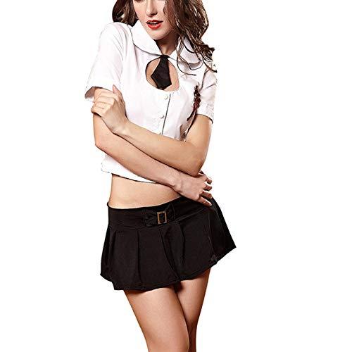 LSXZZY Sexy Dessous Uniform Versuchung Erotisch Unterwäsche Frauen Schulmädchen Kostüm Dessous Halloween Kostüm White M (Lehrerin Kostüm Übergröße)