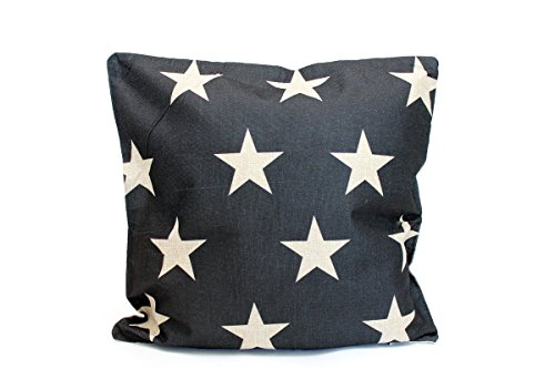 Kissenbezug Lucas 40x40cm Kissenhülle Stern Leinen Optik Sterne schwarz weiß Kissen Dekokissen