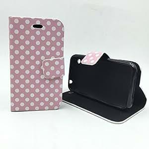 König-shop apple iPhone 3 g/3GS/3 housse etui coque housse à clapet portefeuille format paysage) rockabilly coque de protection à rabat avec fonction support motif polka dots blanc/rose