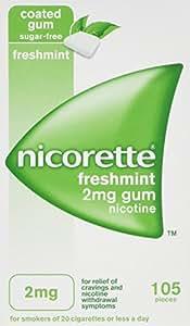 Nicorette Freshmint Gum 2 mg, 105 Pieces